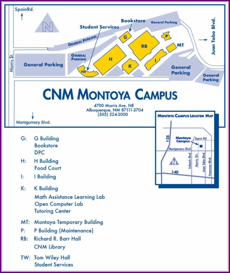 Cnm Main Campus Map Albuquerque