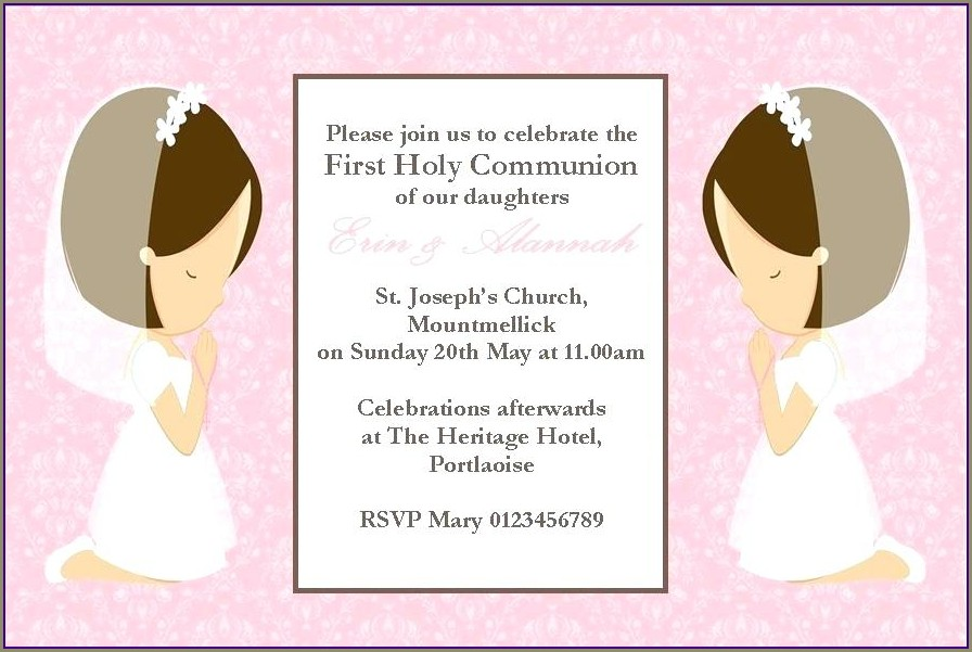 Communion Invitations For Twins Boy And Girl