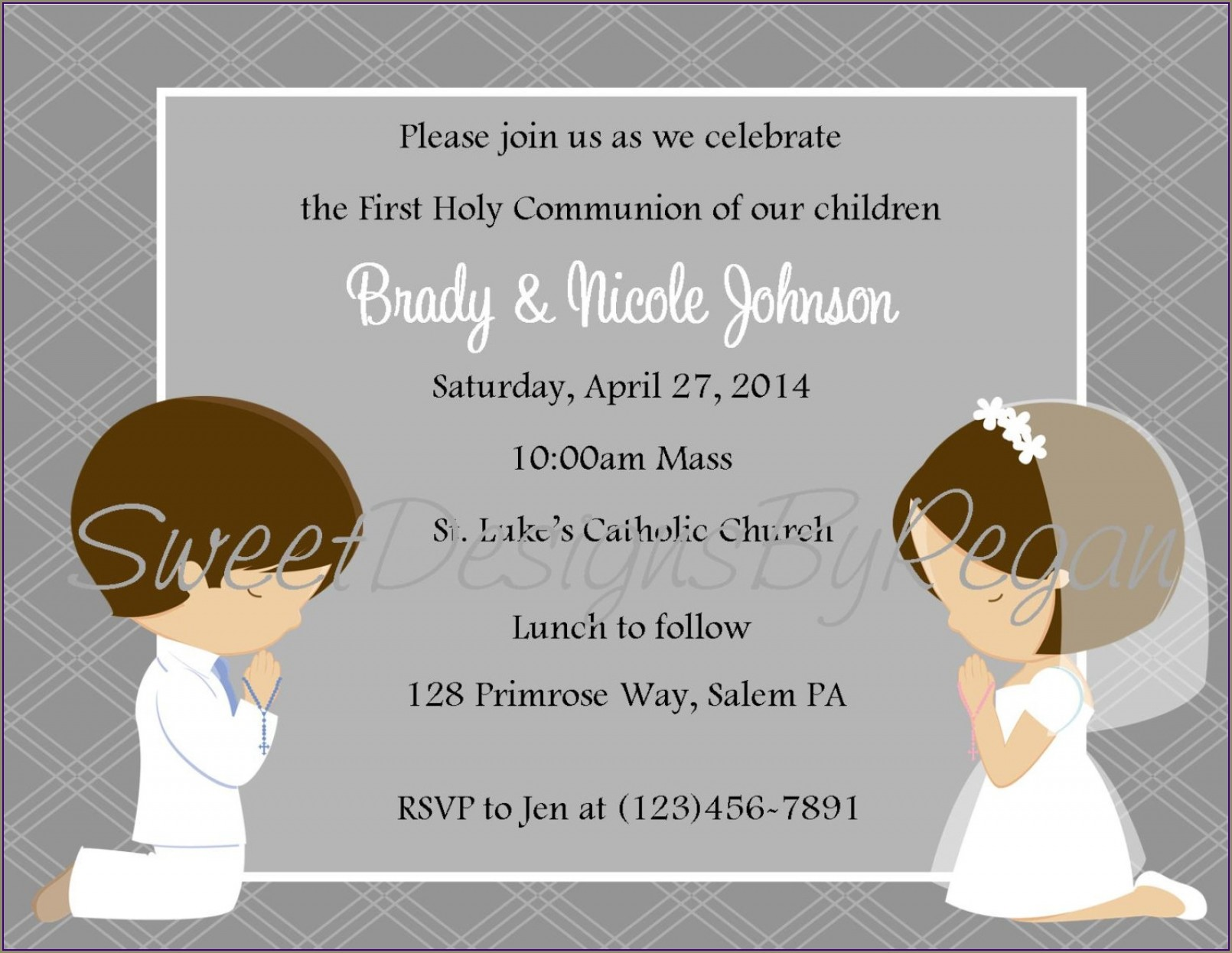 Communion Invitations For Twins