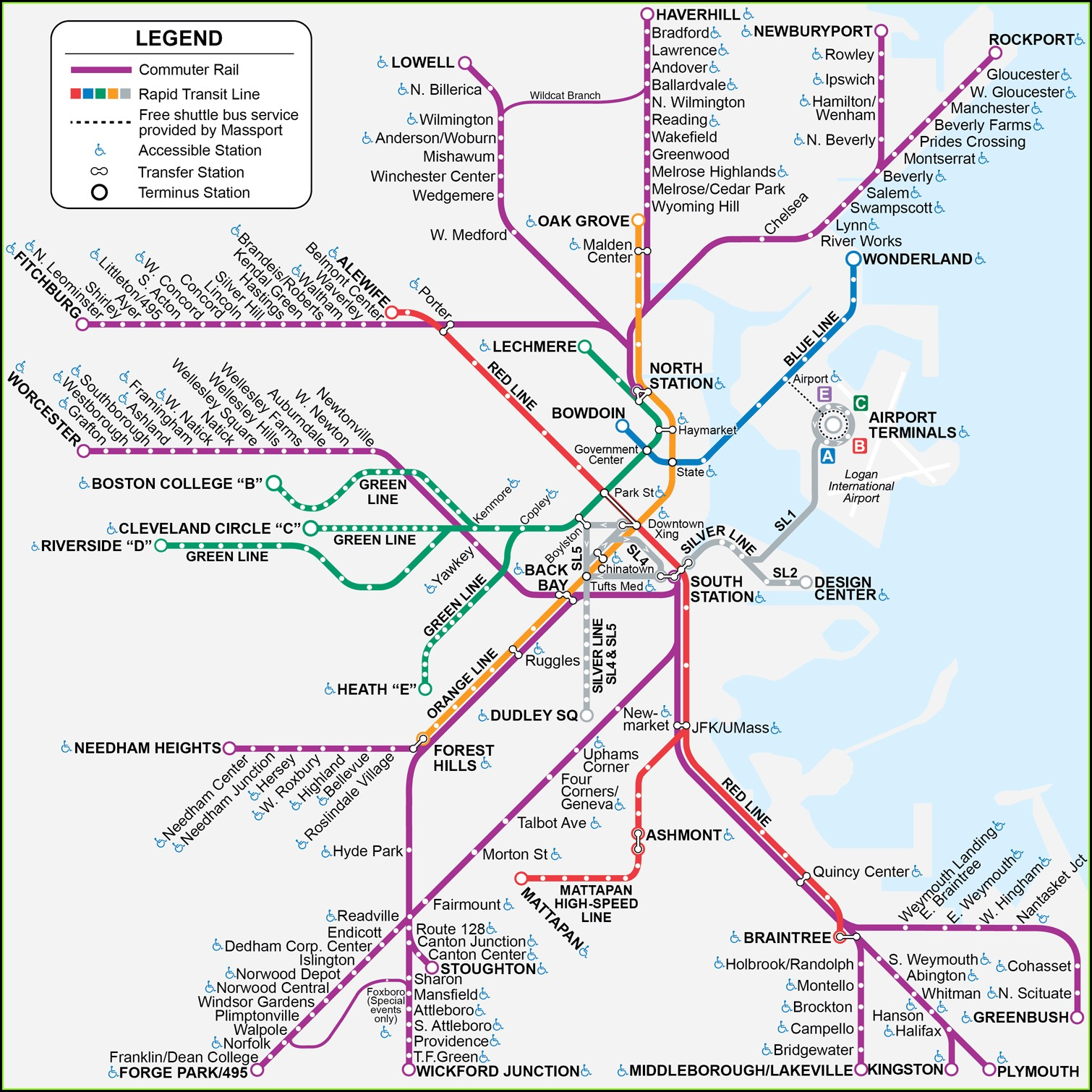 Commuter Rail Mbta Map Boston