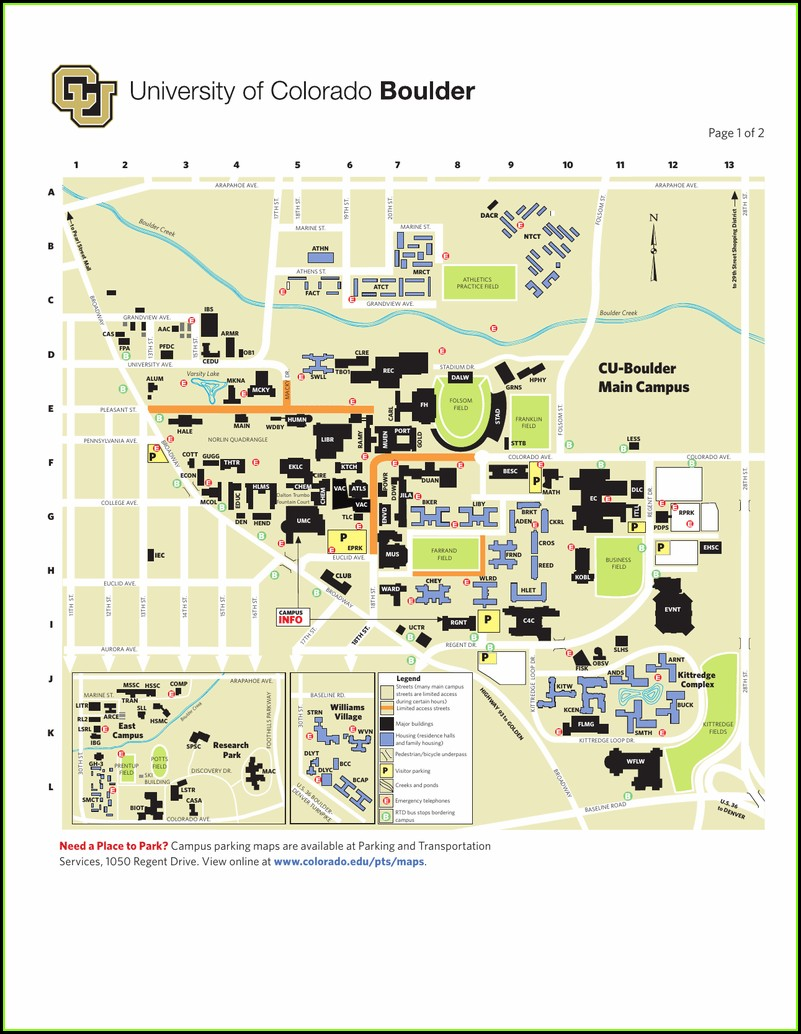 Cu Boulder Main Campus Map