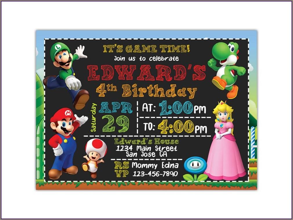 Custom Super Mario Invitations