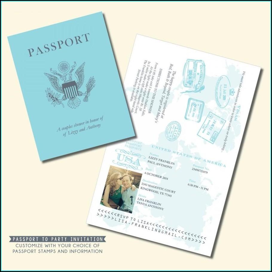 Customizable Printable Passport Invitation Template