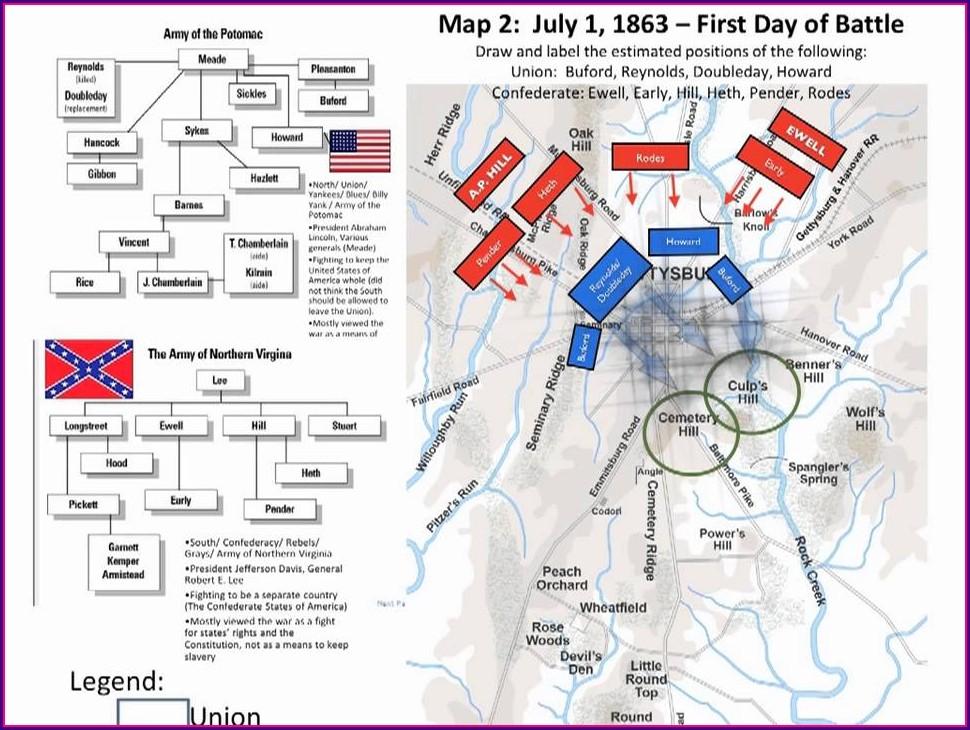 Day 1 Day 2 Day 1 Gettysburg Battlefield Map