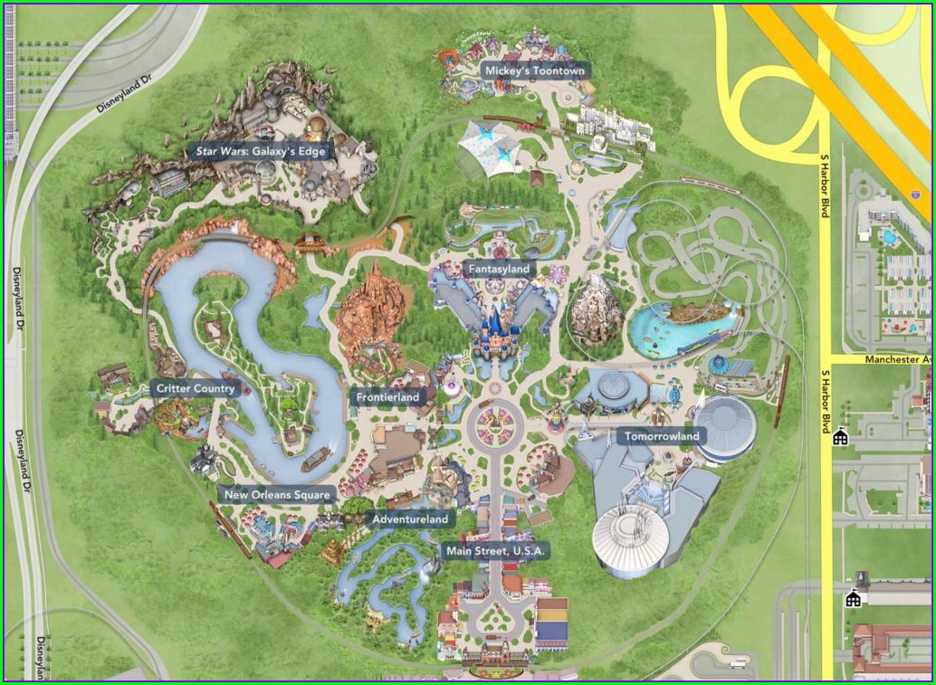 Disneyland Map Before Star Wars Land