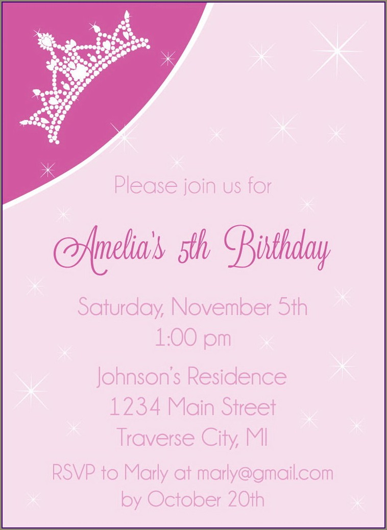 Diy Princess Birthday Invitations