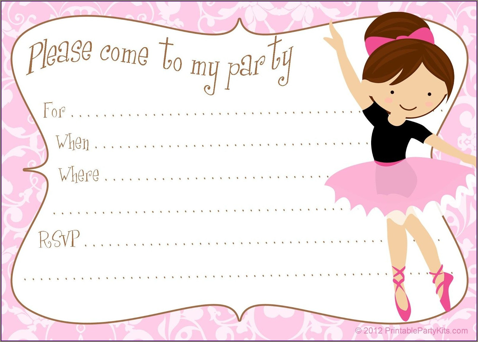 Downloadable Ballerina Invitation Template