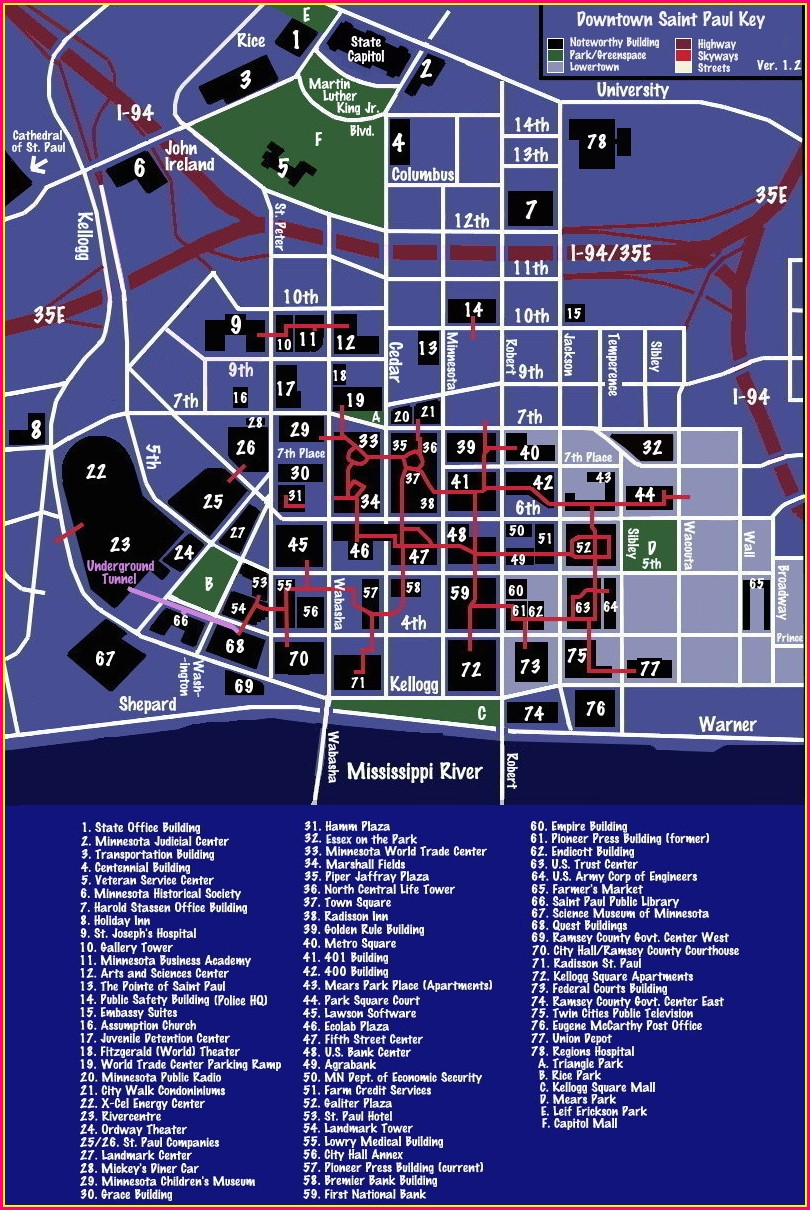 Downtown St Paul Skyway Map