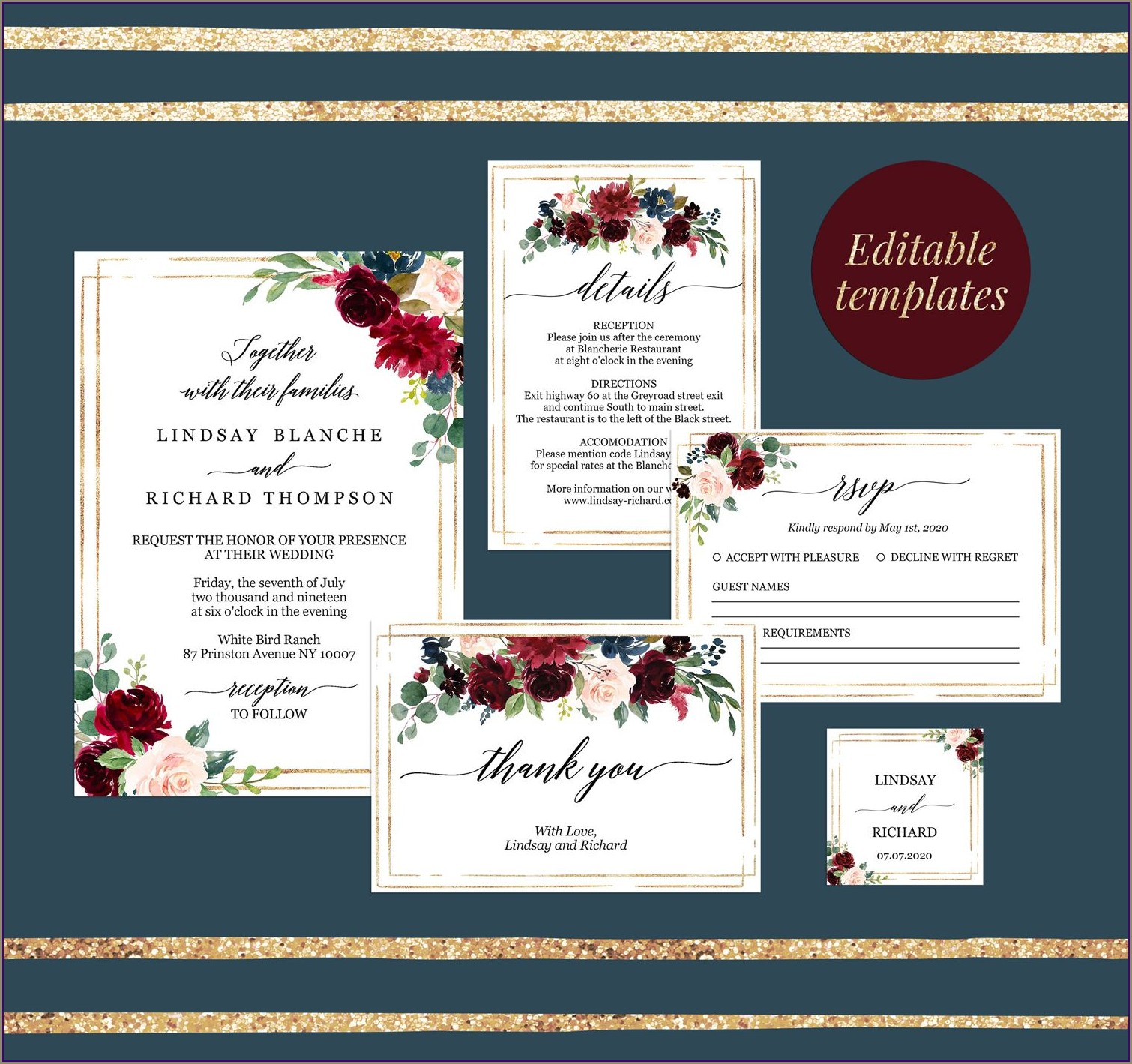 Editable Burgundy Wedding Invitation Templates