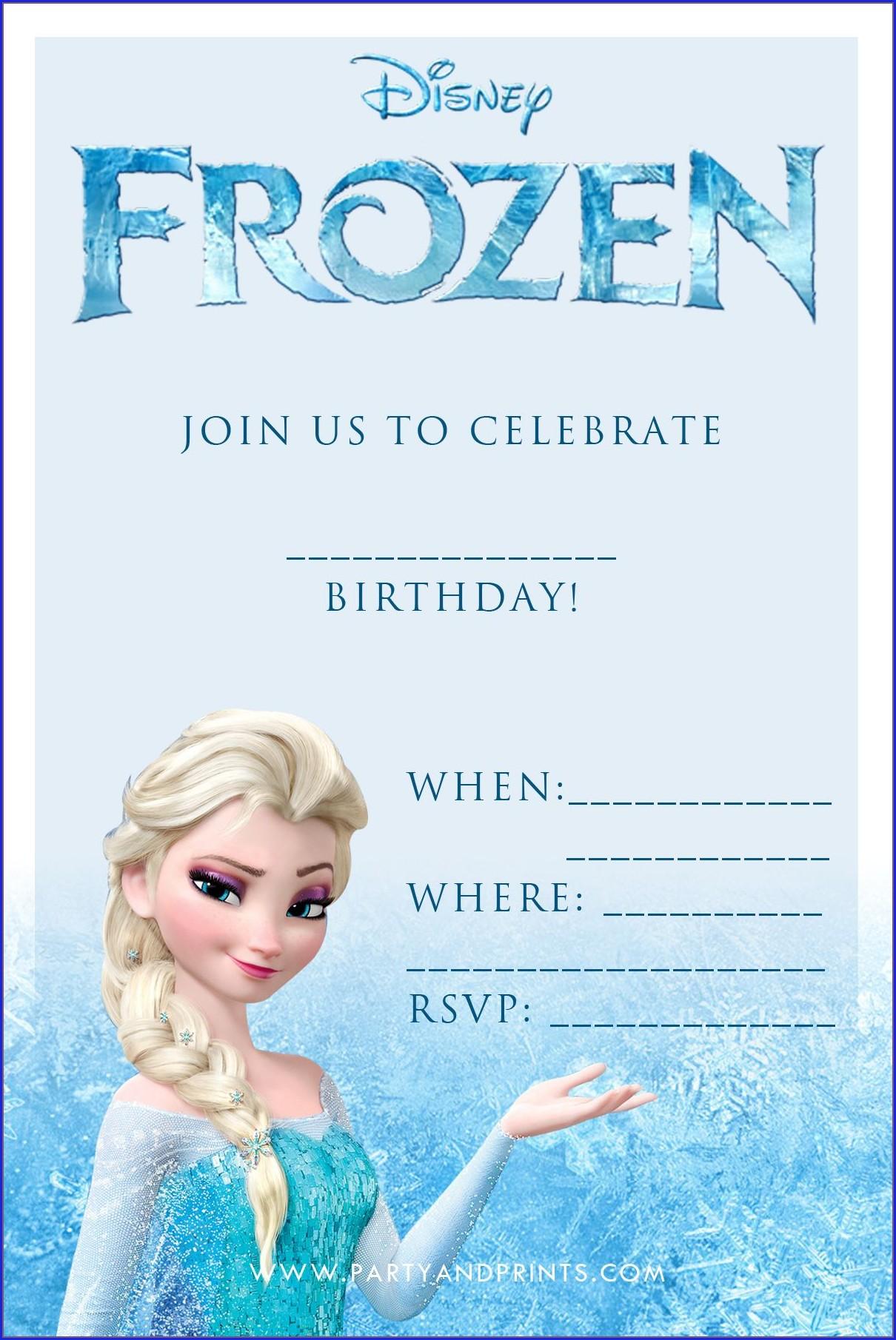 Editable Free Personalized Frozen Invitations