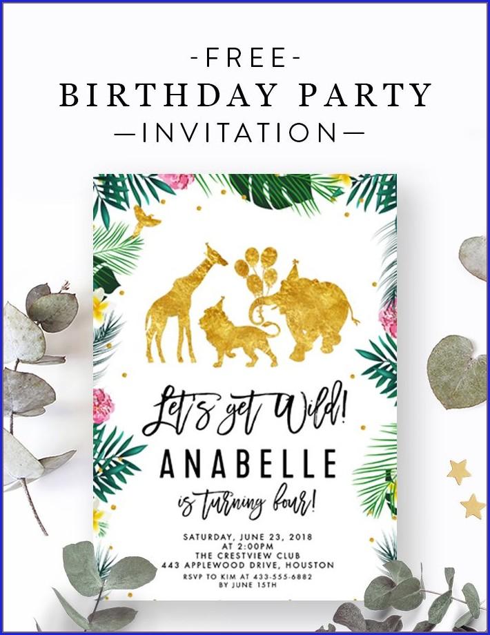 Editable Jungle Birthday Invitation Template Free