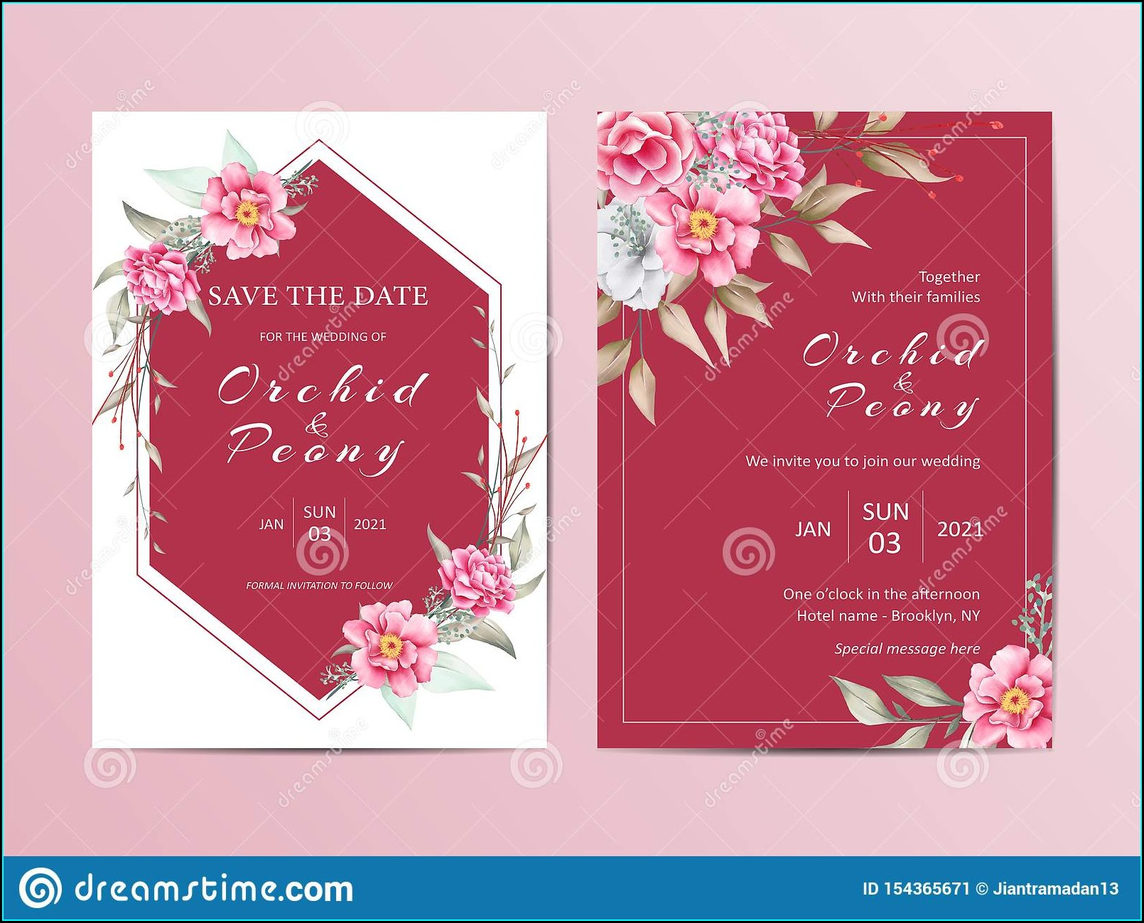 Editable Red And White Wedding Invitations Templates