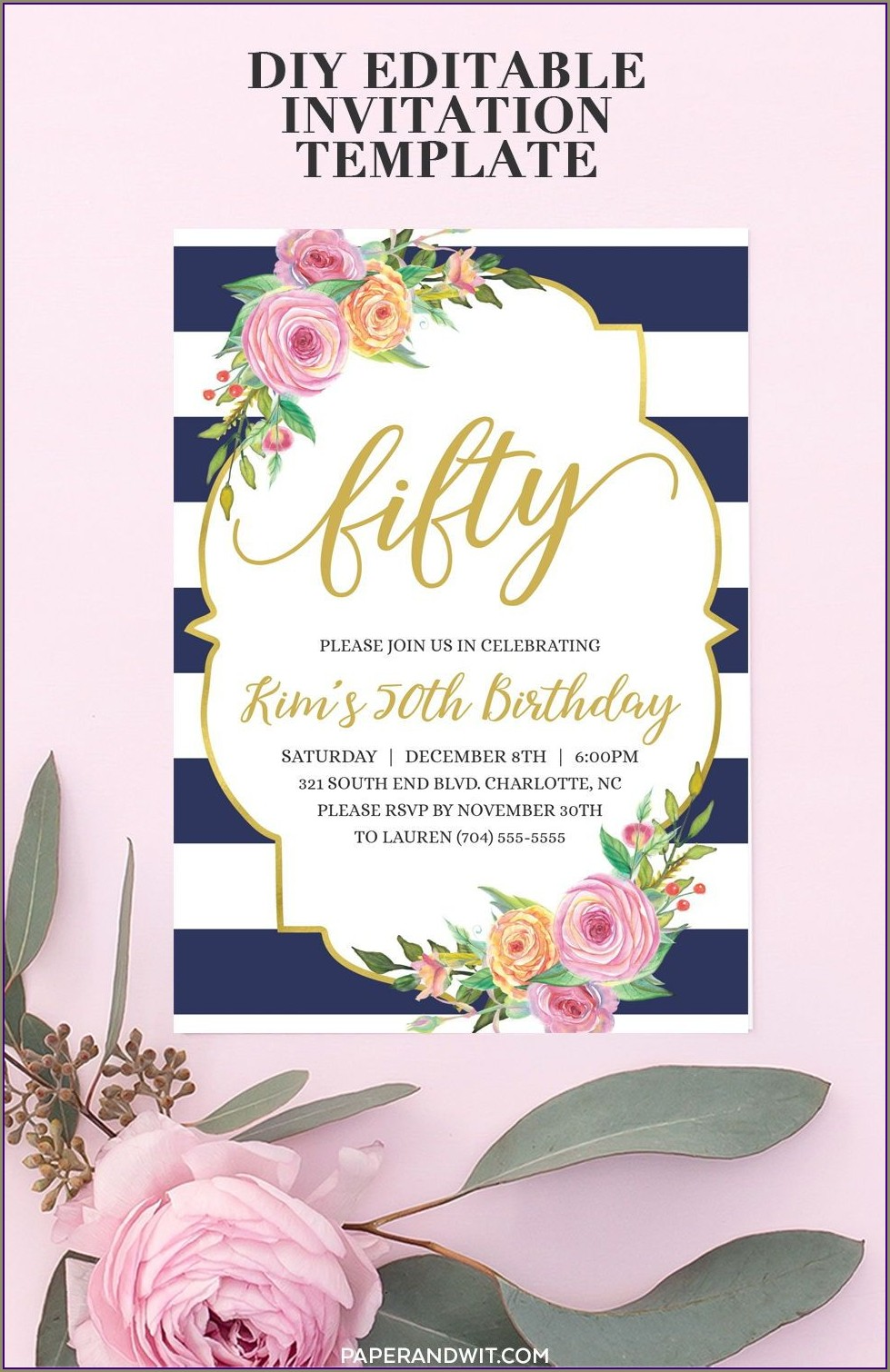 Etsy 50th Birthday Invitations