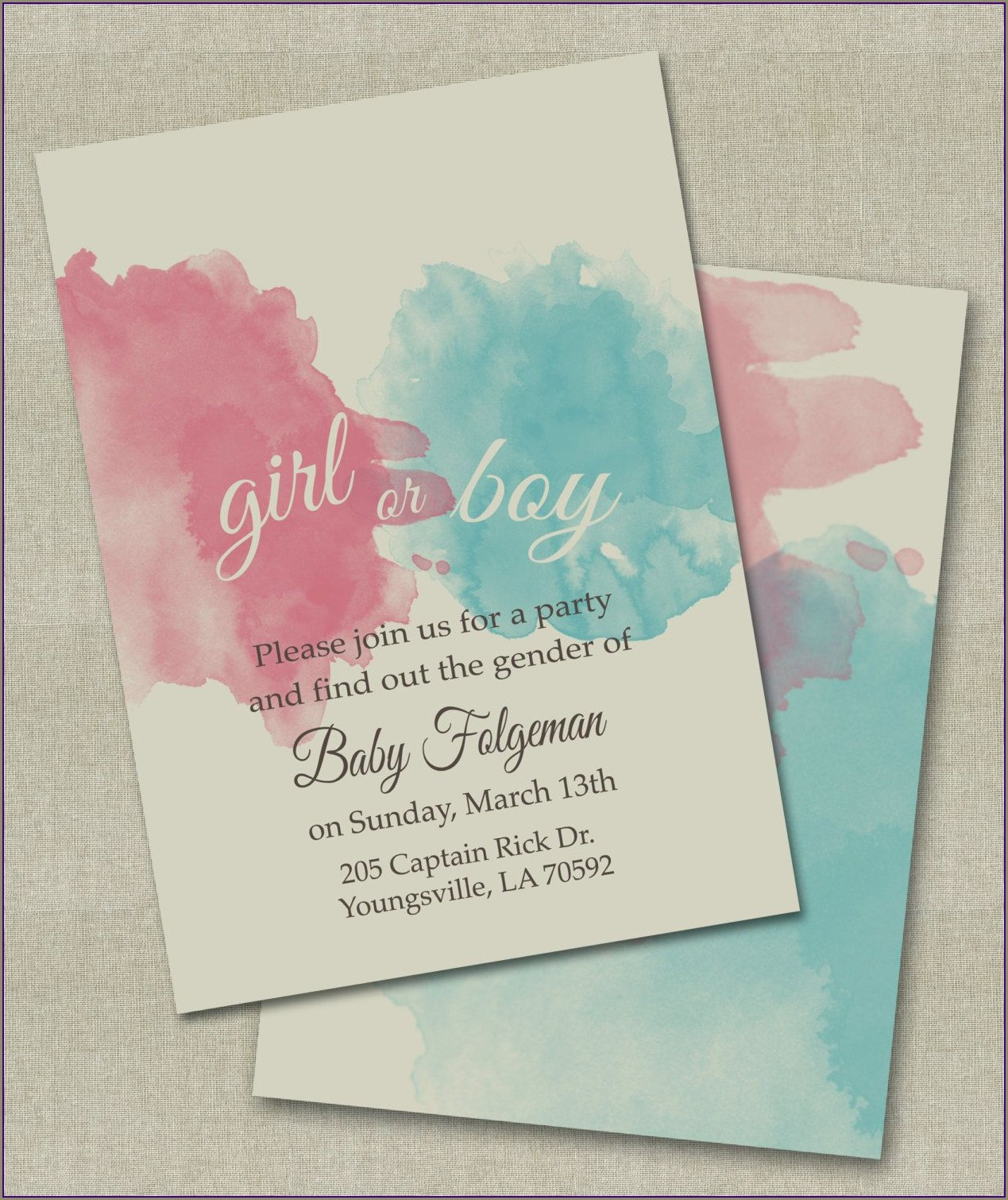 Etsy Baby Gender Reveal Invitations
