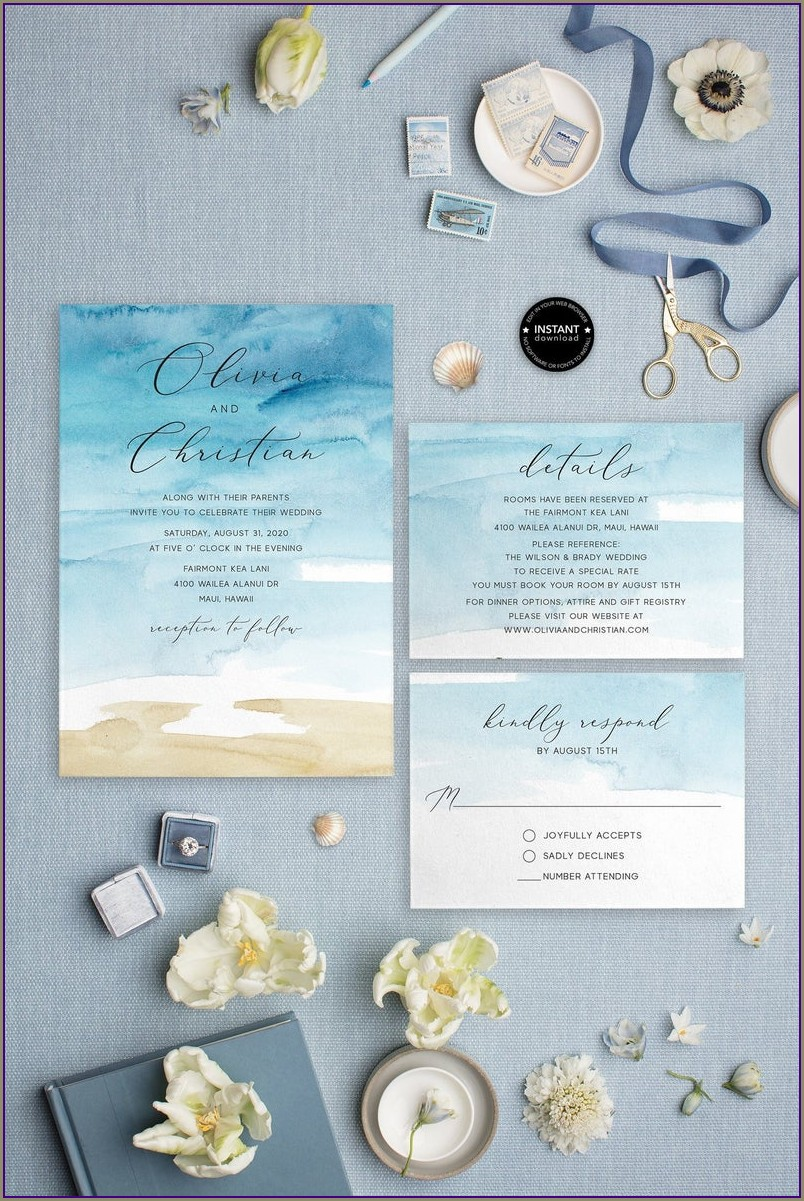 Etsy Beach Wedding Invitations