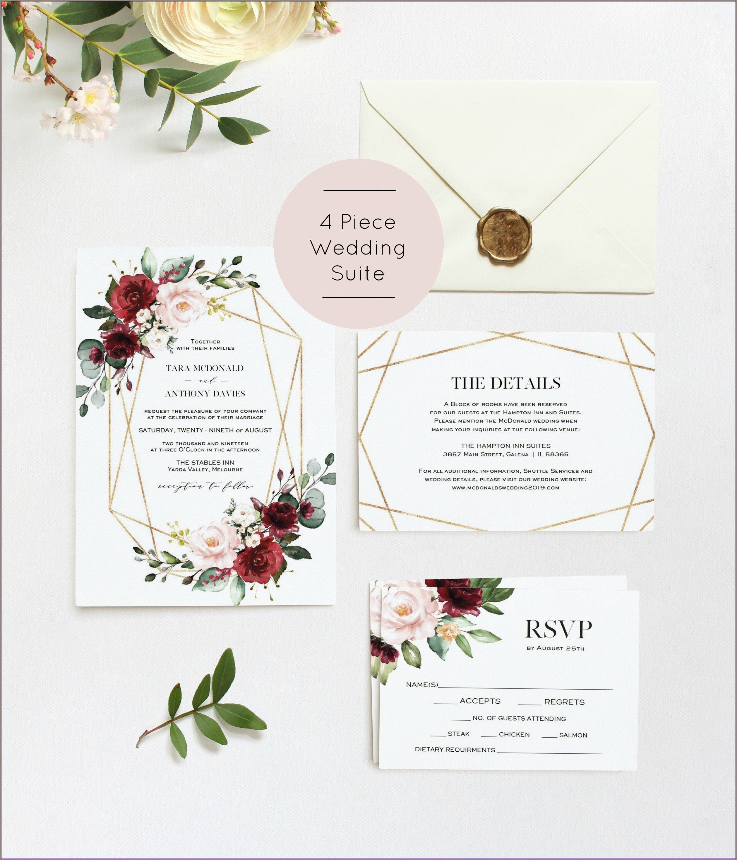 Etsy Burgundy Wedding Invitations