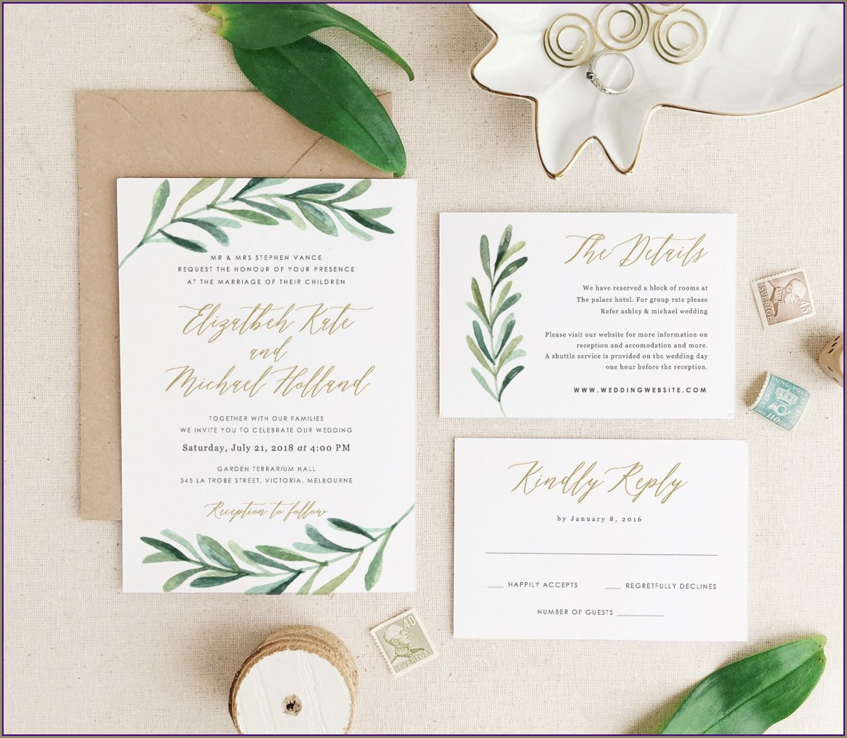 Etsy Wedding Invitations Greenery