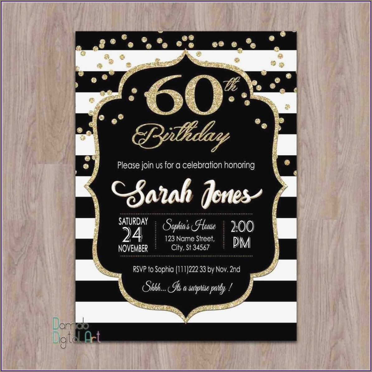 Examples Of 60th Birthday Invitations