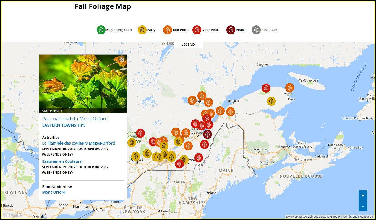 Fall Foliage Prediction Map 2018 Canada