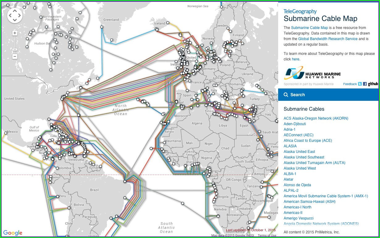 Fiber Optic Undersea Cable Map