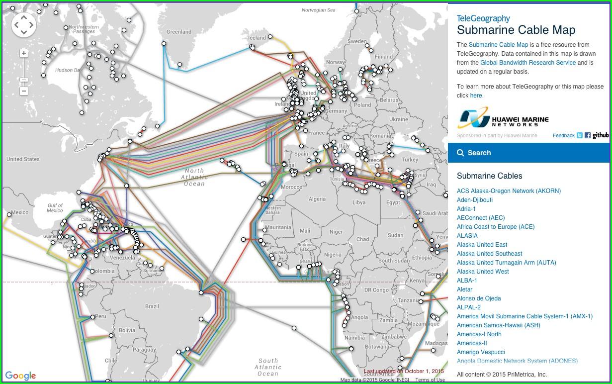 Fiber Optic Undersea Cable Map