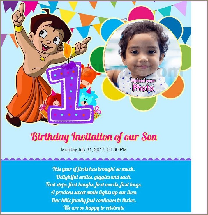 First Birthday Invitation Card Online Free India