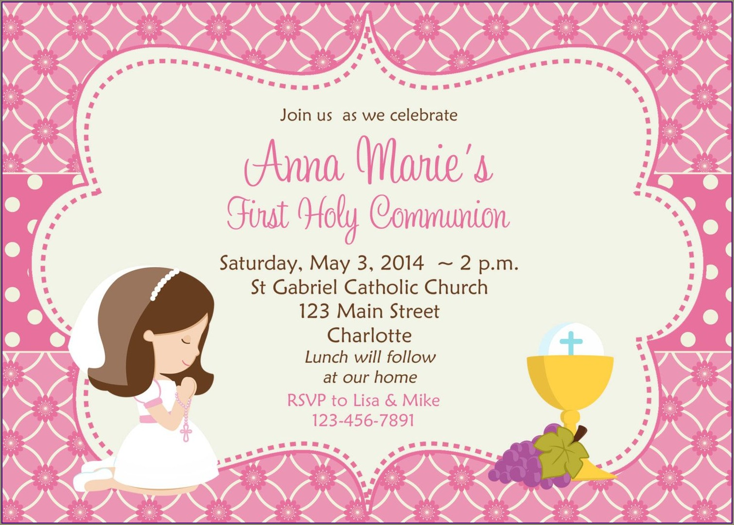First Holy Communion Invitation Templates Free