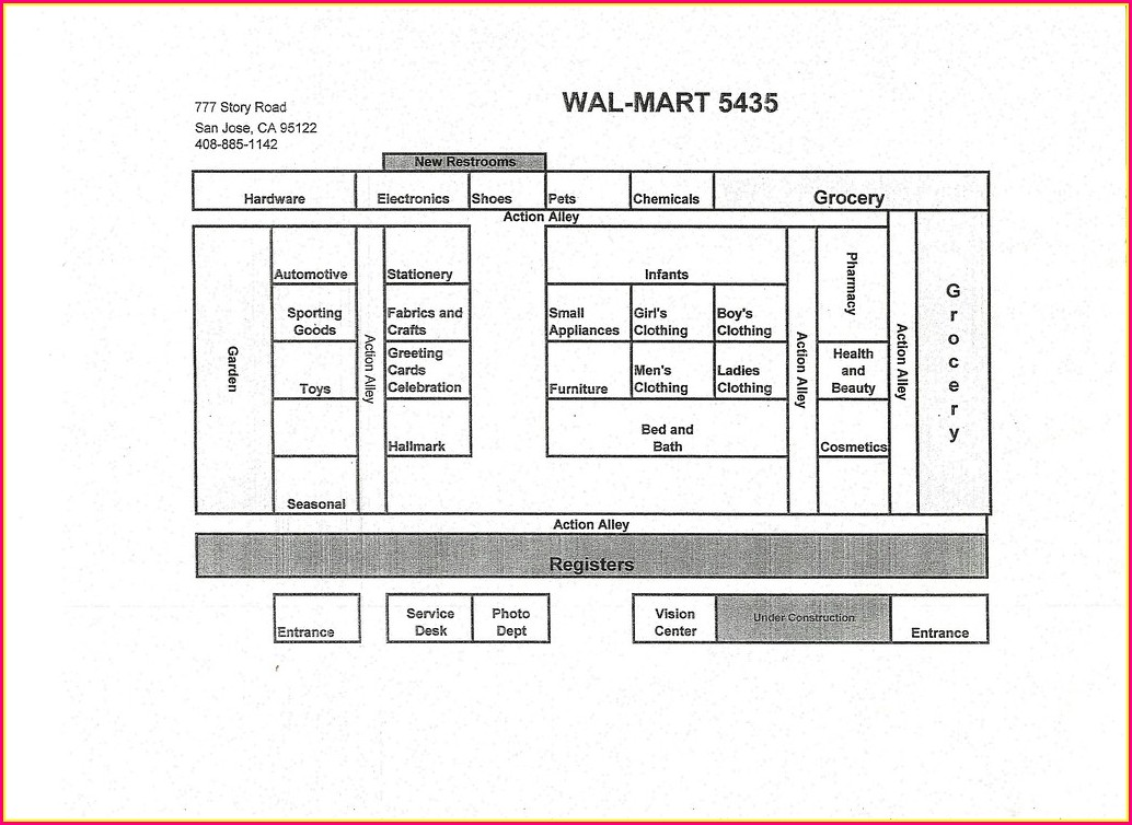 Floor Plan Walmart Grocery Aisle Map