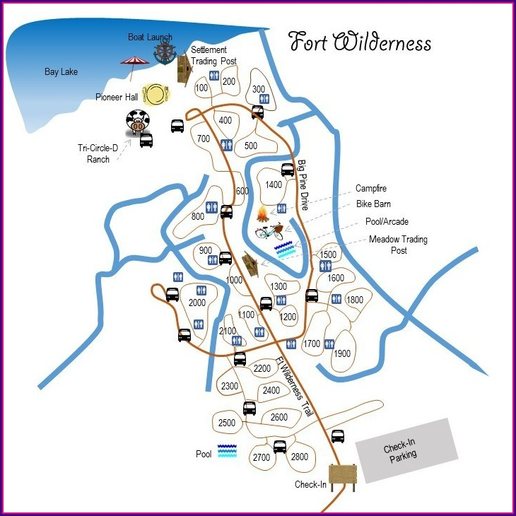 Fort Wilderness Campground Map With Site Numbers
