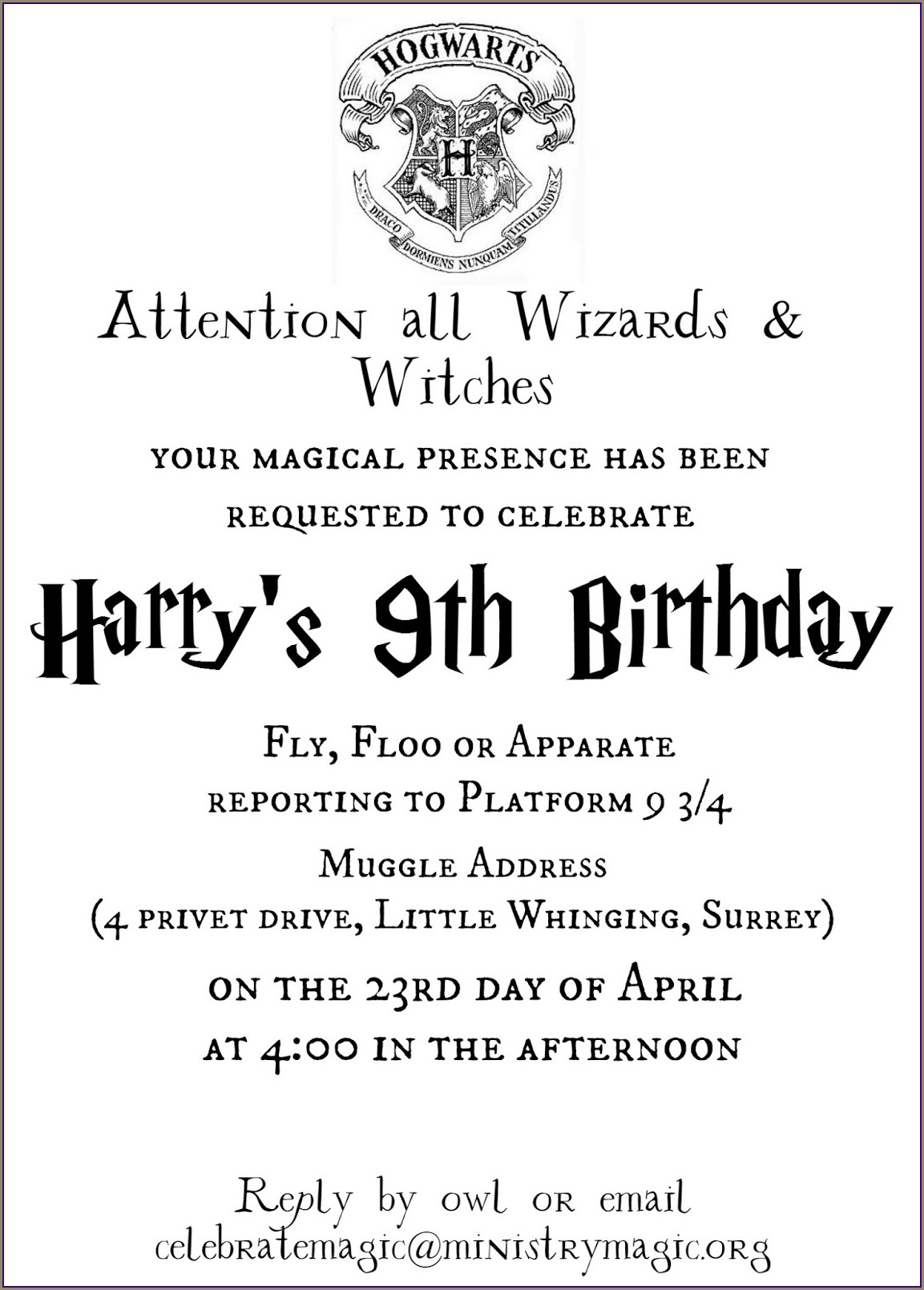 Free Editable Harry Potter Birthday Invitations