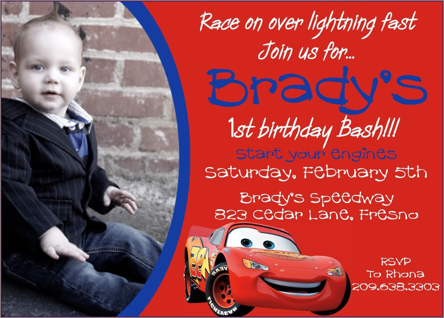 Free Personalized Disney Cars Invitations