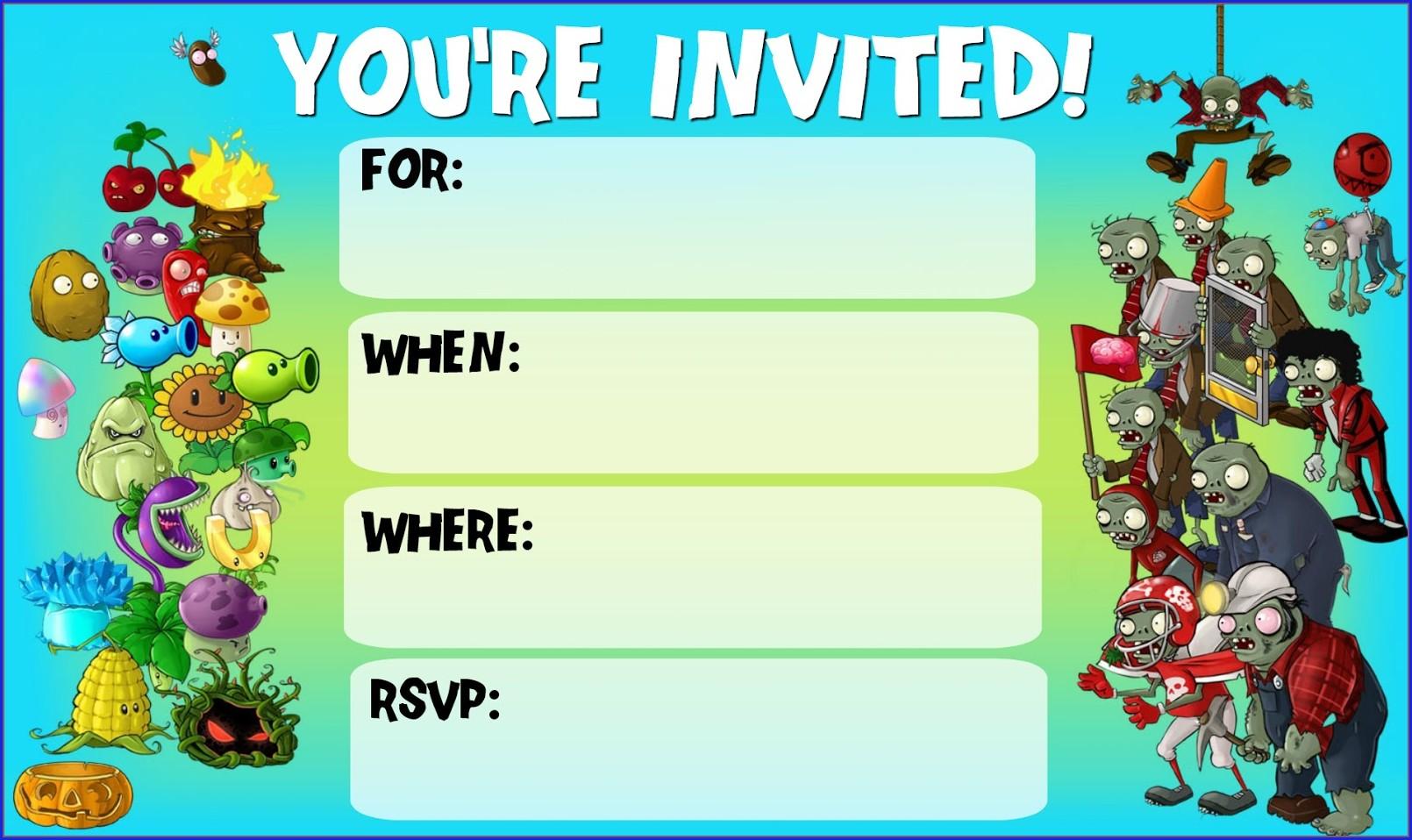 Free Plants Vs Zombies Birthday Invitation Template