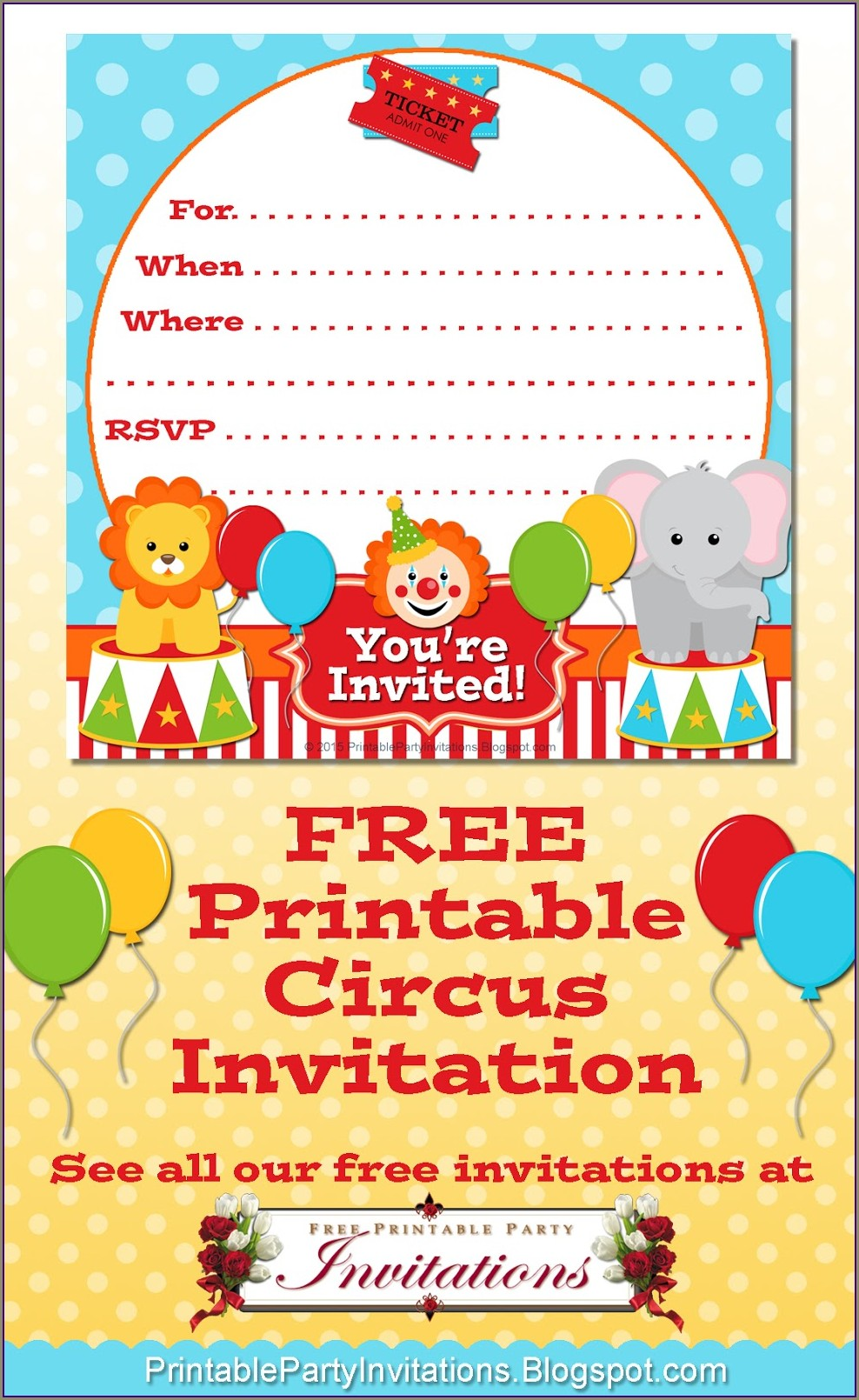 Free Printable Circus Invitations