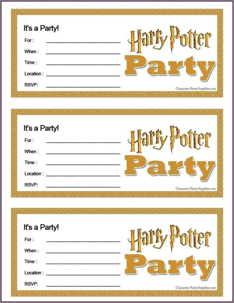 Free Printable Harry Potter Birthday Invitations
