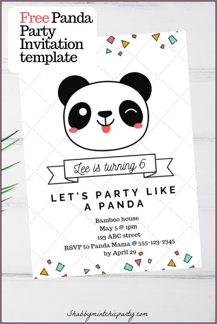 Free Printable Panda Party Invitations