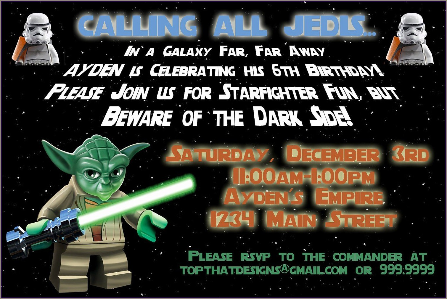 Free Printable Star Wars Invitation Template