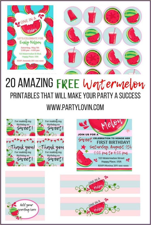 Free Printable Watermelon Birthday Invitations