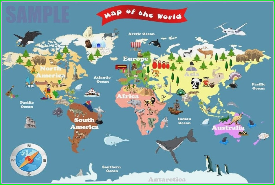 Free Printable World Map For Kindergarten