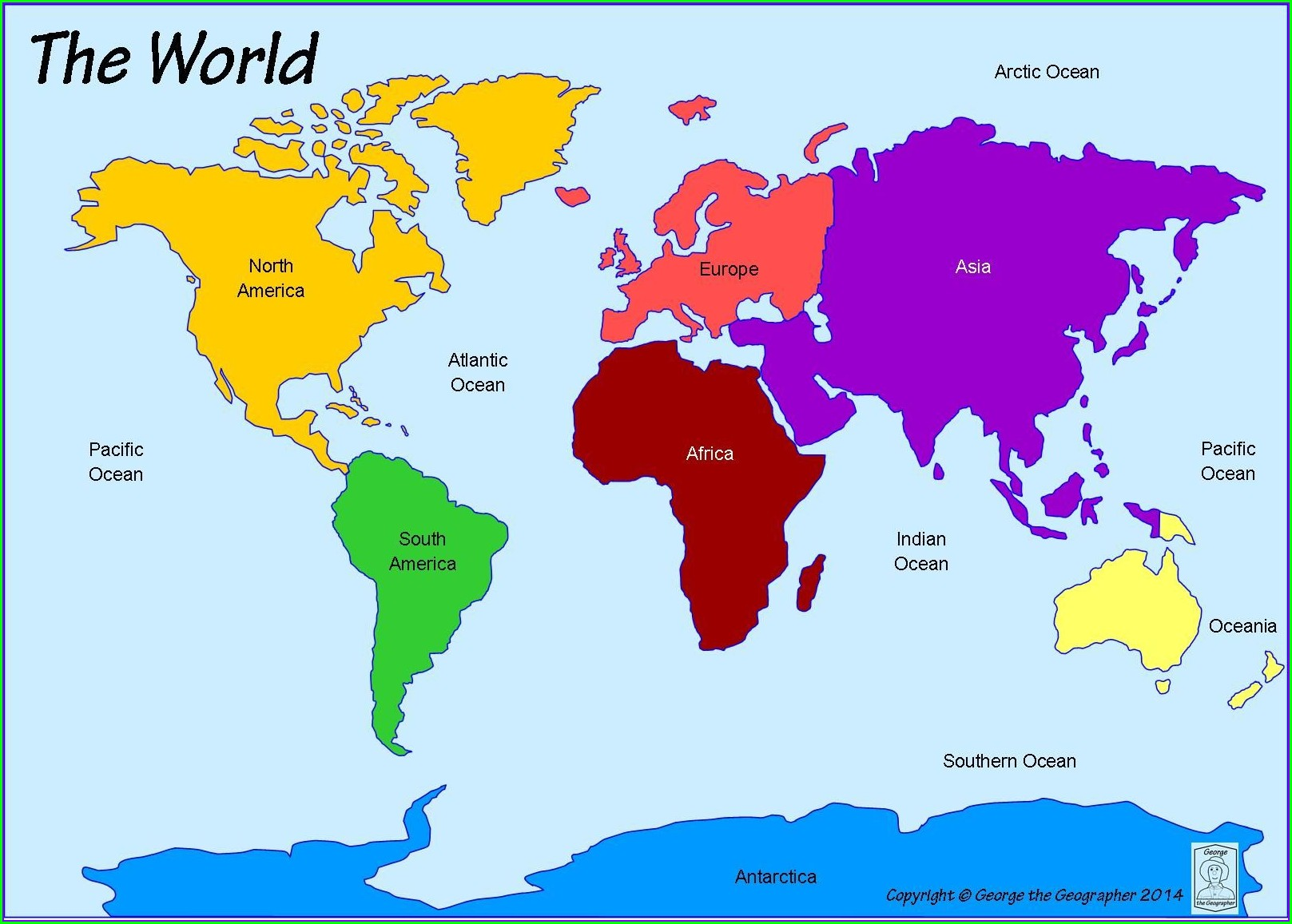 Free Printable World Map With Continents And Oceans Labeled