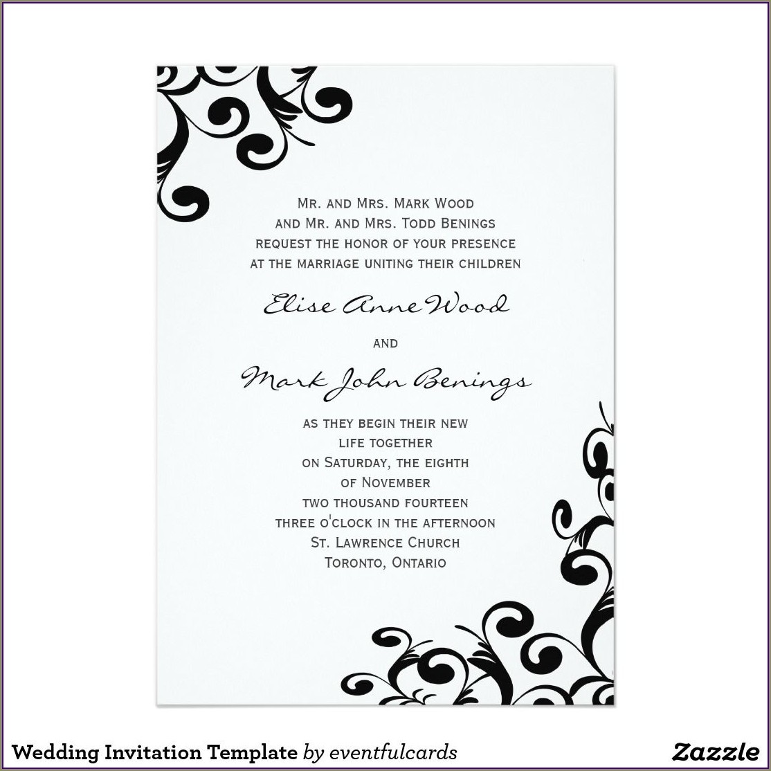 Free Wedding Invitation Samples Zazzle