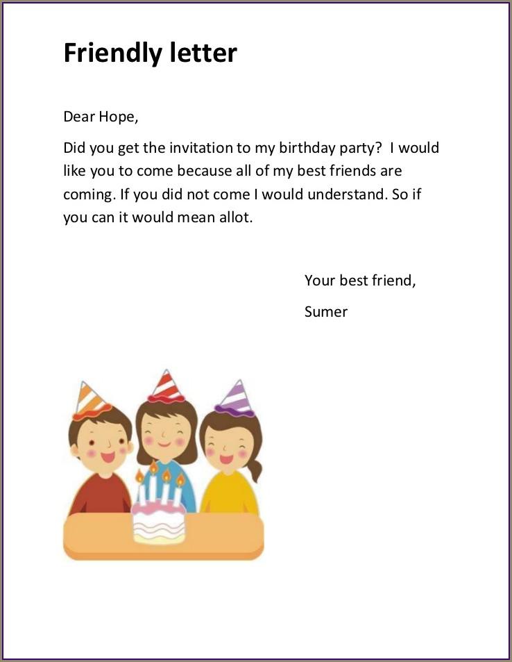 Friendly Birthday Invitation Letter Pdf