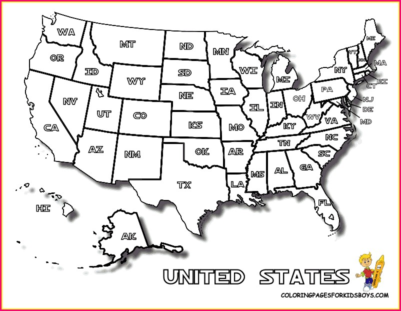 Full Page Us Map Coloring Page
