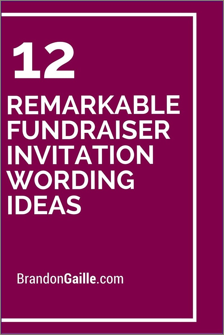 Fundraising Dinner Invitation Wording