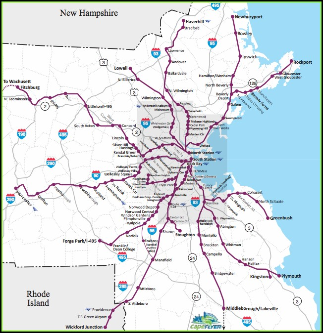Geographically Mbta Commuter Rail Map