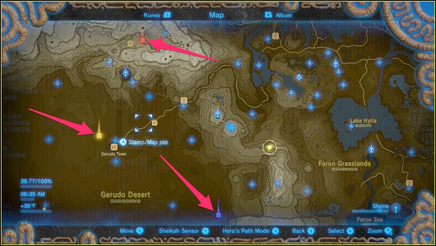 Gerudo Legend Of Zelda Breath Of The Wild Shrine Map