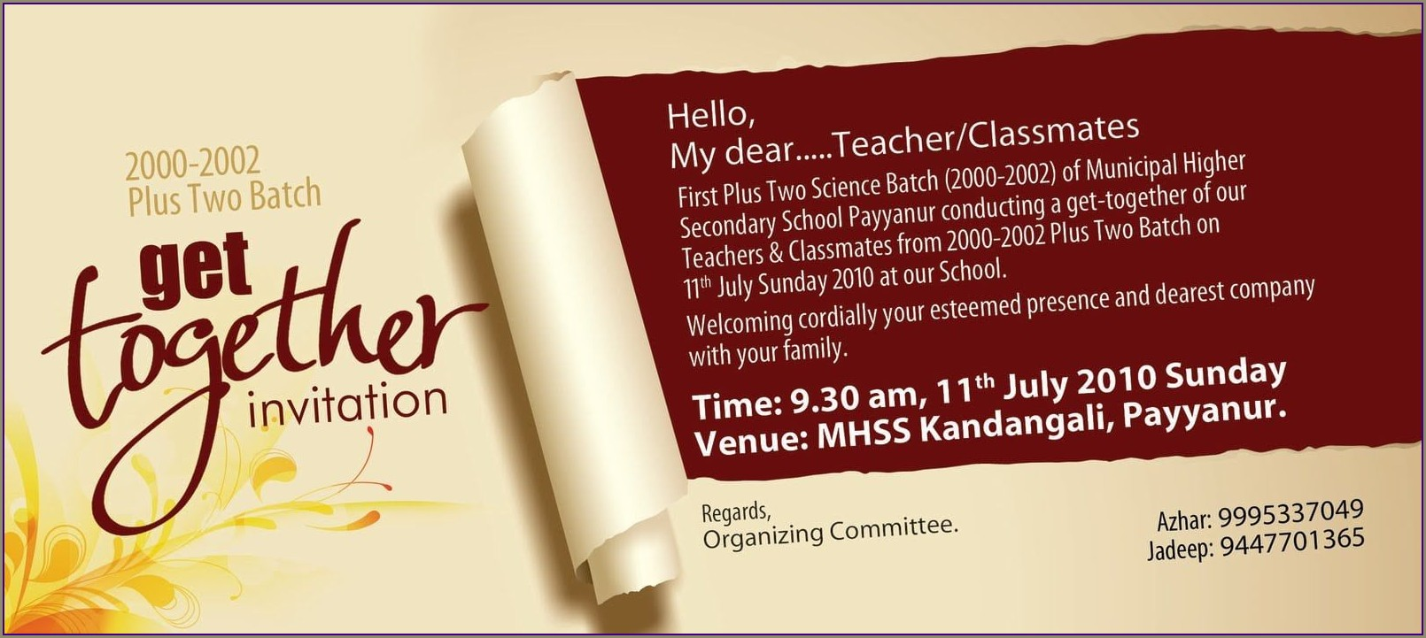 Get Together Invitation Card For School Friends