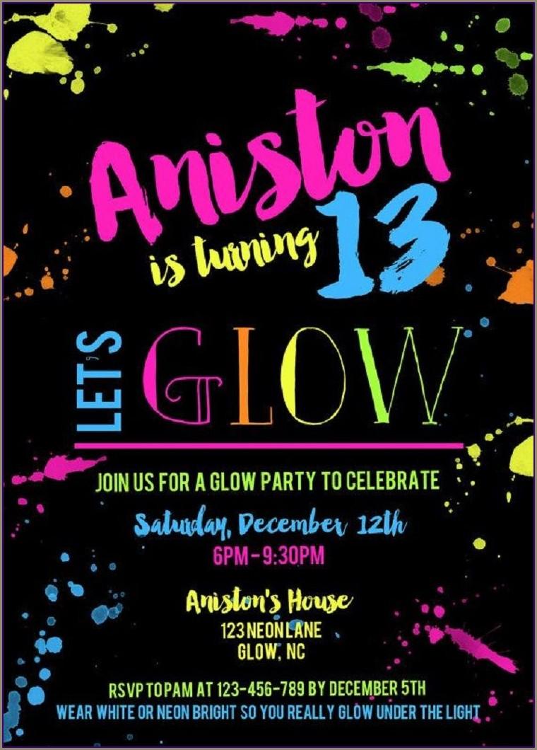 Glow In The Dark Birthday Invitations Free