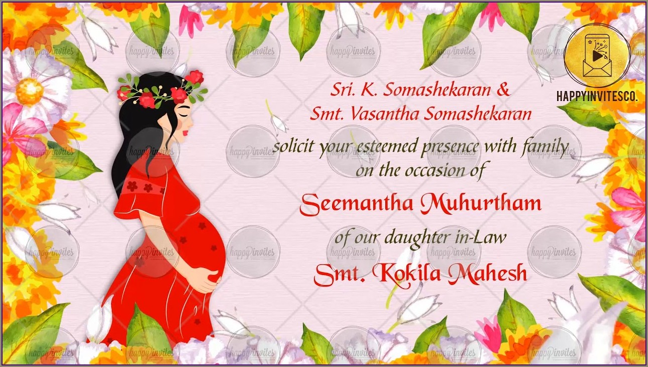 Godh Bharai Invitation Card Template