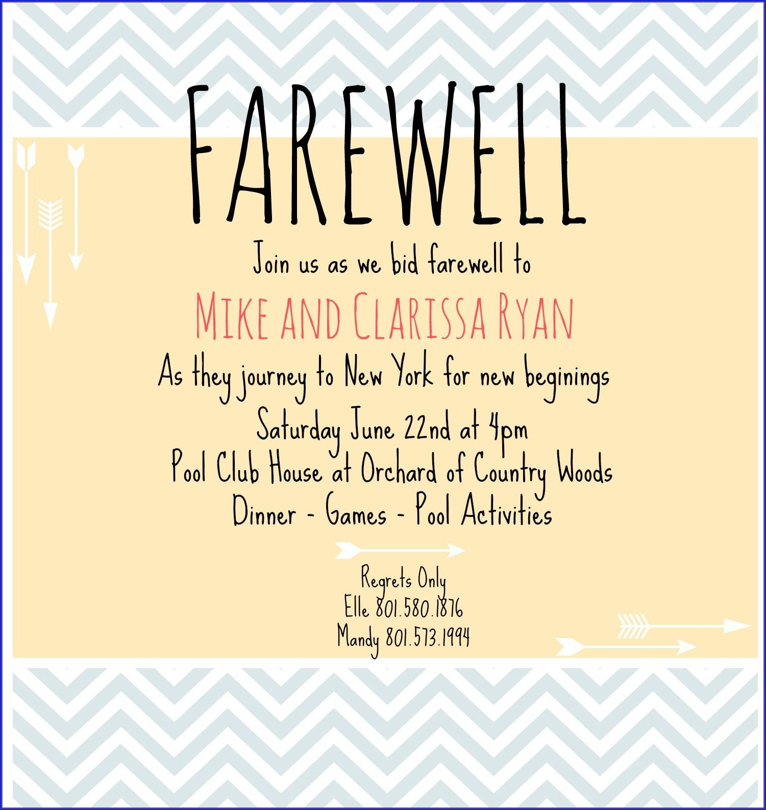 Goodbye Dinner Invitation Wording
