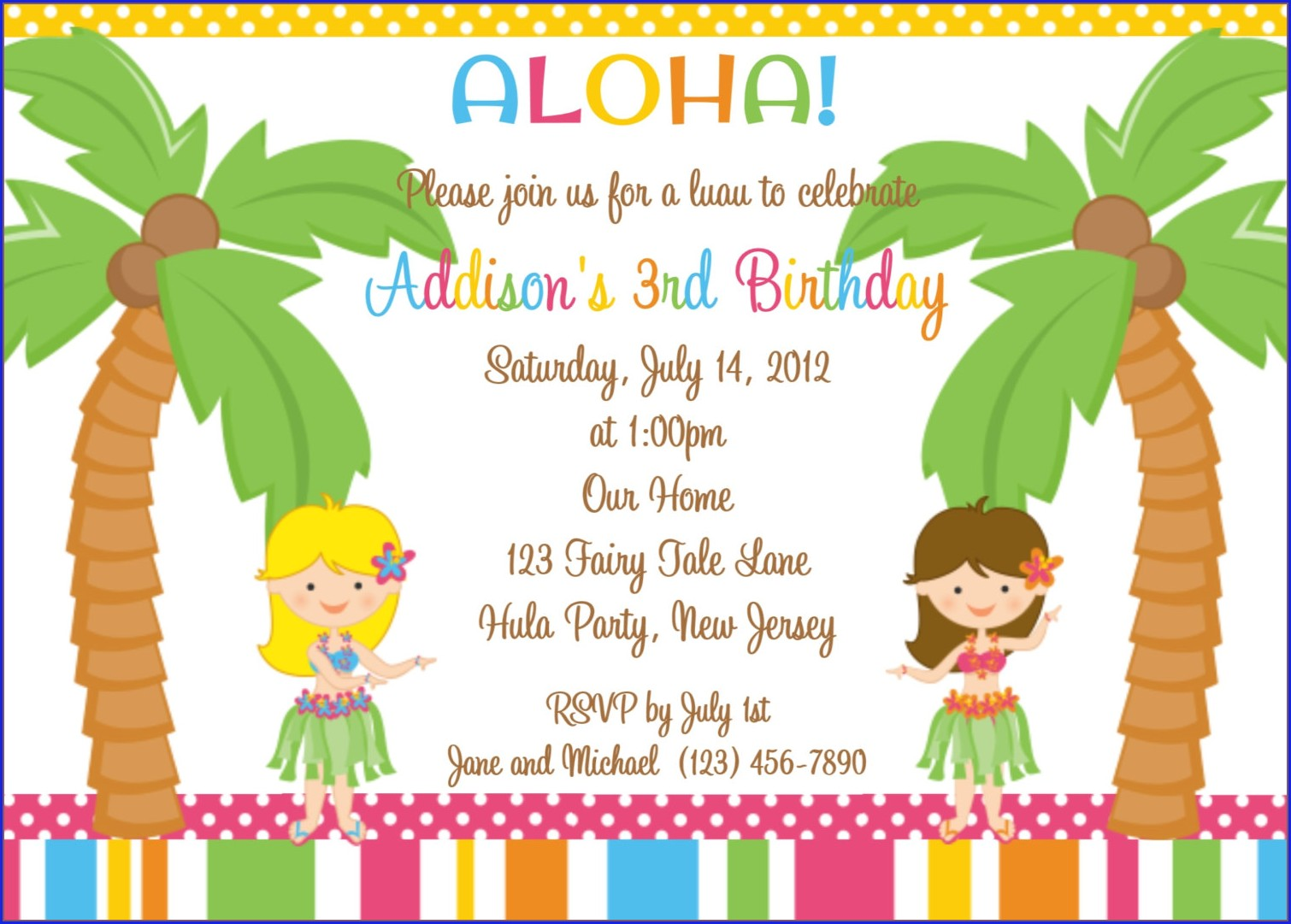 Hawaiian Birthday Invitation Templates Free
